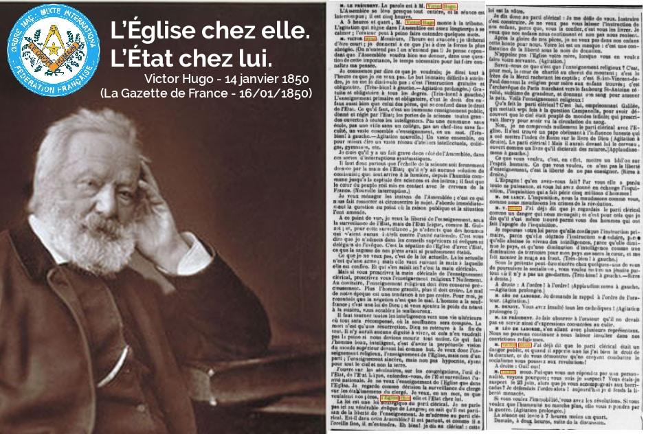 """Communiqué de la Fédération française du DROIT HUMAIN """"L'Église chez elle. L'État chez lui"""" – 10 avril 2018"""