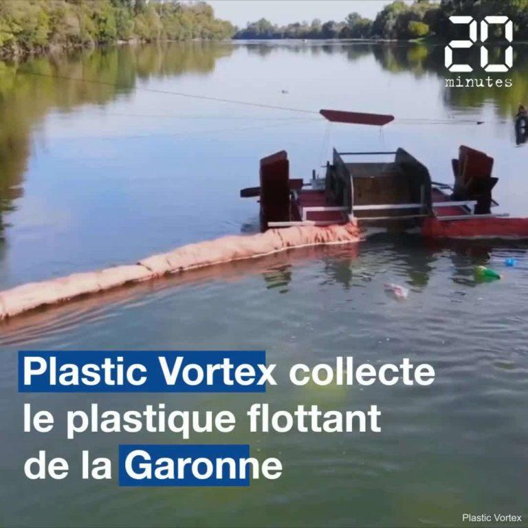 Leur collecteur récupère les déchets flottants charriés par la Garonne