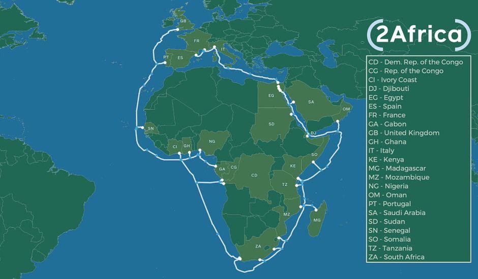 Facebook détaille son projet 2Africa : un immense câble sous-marin qui doit connecter l'Afrique