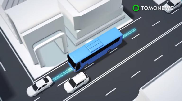 Une route électrique va recharger les bus en ville